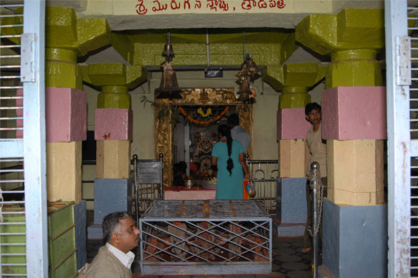 Full view of the temple and the main Idol of Sri Subramanyashwara